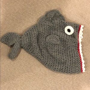 New hand knit intricate shark bite wool beanie hat